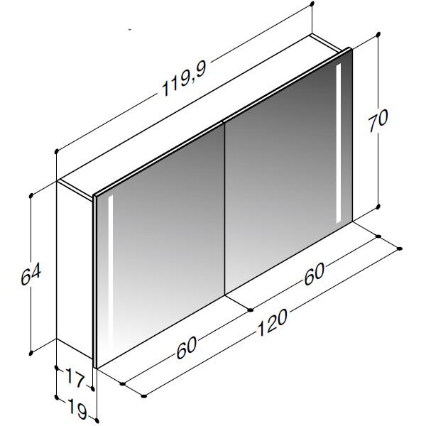 Scanbad spejlskab med integreret lys i siderne - H 64 x B 119,9 x D 19 cm - stregtegning