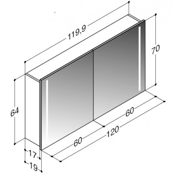 Scanbad spejlskab med integreret lys i begge sider - H 64 x B 119,9 x D 19 cm Uden lysstyring