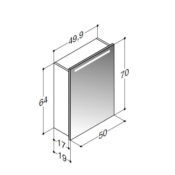 Scanbad spejlskab med integreret lys i top - H 64 x B 50 x D 19 cm