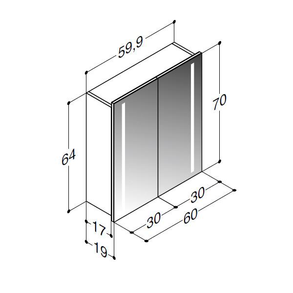 Scanbad spejlskab med integreret lys i siderne - H 64 x B 59,9 x D 19 cm Uden lysstyring