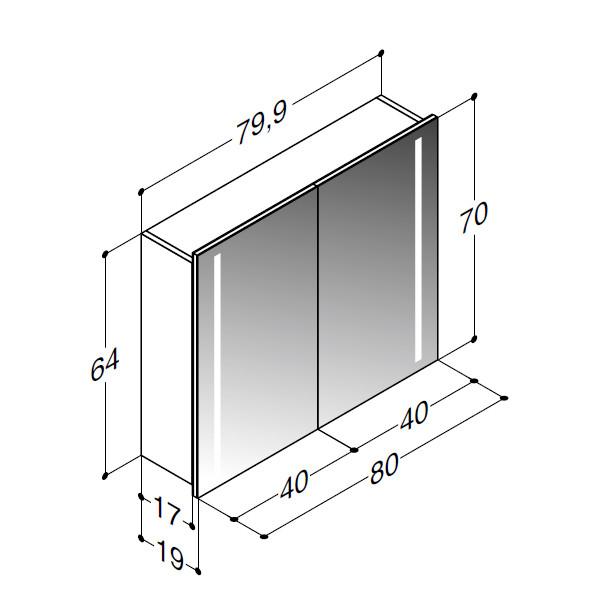 Scanbad spejlskab med integreret lys i siderne - H 64 / 70 x B 79,9 x D 19 cm - Multo