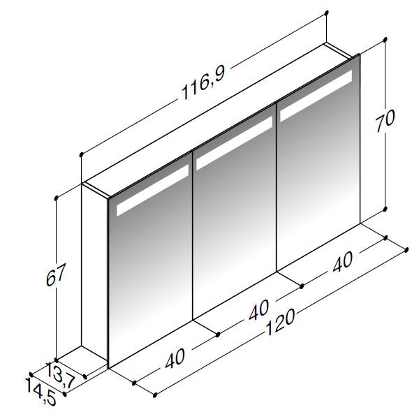 Scanbad spejlskabe med integreret belysning i top og 3 låger - 116,9 x 67 x 14,5 cm stregtegning