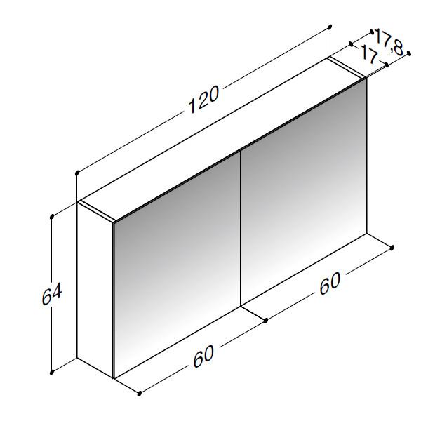 Scanbad spejlskabe uden belysning og med 2 låger - 120 x 64 x 17,8 cm - stregtegning