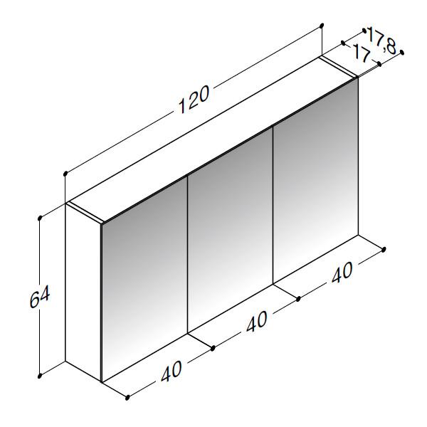 Scanbad spejlskabe uden belysning 3 låger - 120 x 64 x 17,8 cm Inkl. lysstyring