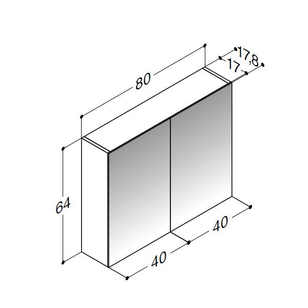 Scanbad spejlskabe uden belysning - 80 x 64 x 17,8 cm - stregtegning