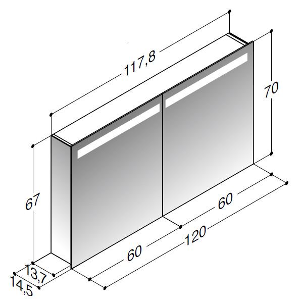 Scanbad spejlskab med spejlgavle og integreret lys i top - H 67 x B 117,8 x D 14,5 cm Uden lysstyring