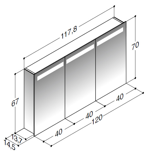 Scanbad spejlskab med spejlgavle og integreret lys i top samt 3 låger - H 67 x B 117,8 x D 14,5 cm Uden lysstyring