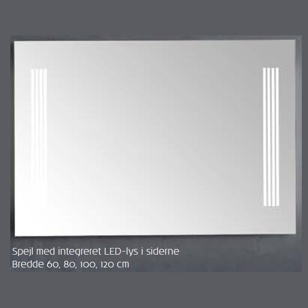 Scanbad spejl med integreret LED belysning - 120 x 70 cm