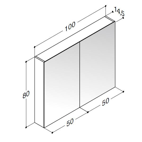 Scanbad spejlskab uden belysning - H 80 x B 100 x D 14,5 cm Inkl. lysstyring