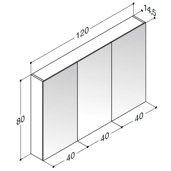 Scanbad spejlskab uden belysning med 3 låger - H 80 x B 120 x D 14,5 cm Inkl. lysstyring