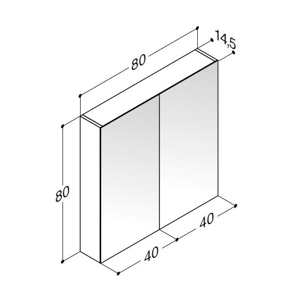 Scanbad spejlskab uden belysning - H 80 x B 80 x D 14,5 cm Inkl. lysstyring