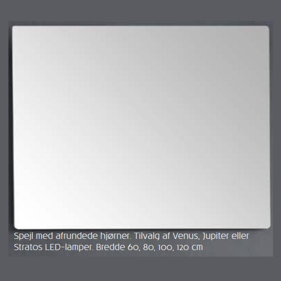 Dejlig Scanbad spejl med afrundende hjørner uden lys - 120 x 80 cm Inkl NH-35