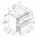Scanbad Delta med Facet glas vask og skuffer - H 65,8 x B 60,5 x D 45 cm