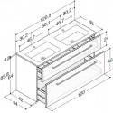Scanbad Delta med Facet glasvaskk dobbelt vask og skuffer - H 65,8 x B 120,5 x D 45 cm