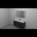 Scanbad Multo+ Skuffeskab med Mikado vask og 2 metalskuffer - Sort struktur - 120 x 59,6 x 44 cm - Inkl. spejl med 2 LED lyszoner med lysstyring