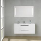 Scanbad Multo+ Skuffeskab med Mikado vask og 2 metalskuffer - 120 x 59,6 x 44 cm - Inkl. spejl med 2 LED lyszoner u/sensor