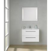 Scanbad Multo+ Skuffeskab med Mikado vask og 2 metalskuffer - 80 x 59,6 x 44 cm - Inkl. spejl med 2 LED lyszoner u/sensor