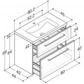 Scanbad Delta med Facet glaskeramik vask og skuffer - H 65,8 x B 80,5 x D 45 cm