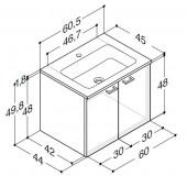 Scanbad Delta med Facet glaskeramik vask og låger - H 49,8 x B 60,5 x D 45 cm