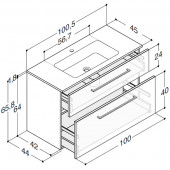 Scanbad Delta med Facet glaskeramik vask og skuffer - H 65,8 x B 100,5 x D 45 cm