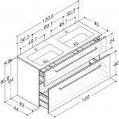 Scanbad Delta med Facet glaskeramik dobbelt vask og skuffer - H 65,8 x B 120,5 x D 45 cm