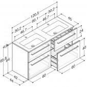 Scanbad Delta med Facet glaskeramik dobbelt vask og 4 skuffer - H 65,8 x B 120,5 x D 45 cm