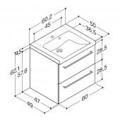 Scanbad Multo+ med Casino vask og skuffer - 60,2 x 62,1 x 49 cm