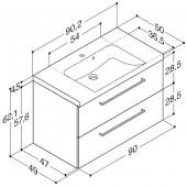 Scanbad Multo+ med Casino vask og skuffer - 90,2 x 62,1 x 49 cm