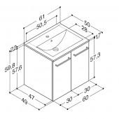 Scanbad Multo+ med Casino vask og låger - 60,2 x 62,1 x 49 cm