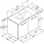 Scanbad Multo+ med Casino vask og låger - 90,2 x 62,1 x 49 cm