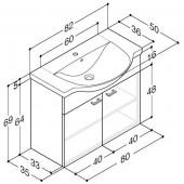Scanbad Delta med Velvet porcelænsvask og låger - H 69 x B 82 x D 50 cm