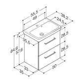 Scanbad Multo+ med Lotto vask og skuffer - 55,5 x 64,6 x 35 cm