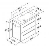Scanbad Multo+ med Lotto vask og skuffer - 65,5 x 64,6 x 35 cm