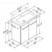 Scanbad Multo+ med Lotto vask og låger - 65,5 x 64,6 x 35 cm