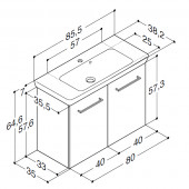 Scanbad Multo+ med Lotto vask og låger - 85,5 x 64,6 x 35 cm