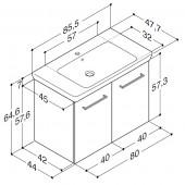 Scanbad Multo+ med Lotto XL vask og låger - 85,5 x 64,6 x 44 cm