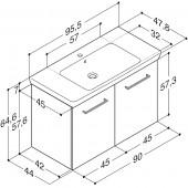 Scanbad Multo+ med Lotto XL vask og låger - 95,5 x 64,6 x 47,8 cm