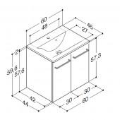 Scanbad Multo+ med Mikado vask og låger - 60 x 59,6 x 44 cm