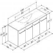 Scanbad Multo+ med Mikado enkelt vask og 4 låger - 120 x 59,6 x 44 cm