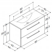 Scanbad Multo+ med Mikado vask og skuffer - 90 x 59,6 x 44 cm