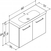 Scanbad Multo+ med Uno vask og låger - 90 x 64,6 x 35 cm