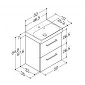 Scanbad Multo+ med Uno vask og 2 skuffer - 50 x 64,6 x 35 cm