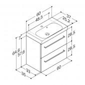 Scanbad Multo+ med Uno vask og 2 skuffer - 60 x 64,6 x 35 cm
