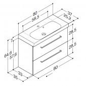Scanbad Multo+ med Uno vask og 2 skuffer - 80 x 64,6 x 35 cm