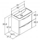 Scanbad SAMBA med vask og skuffer - 60 x 65,6 x 37,2 cm