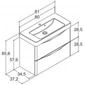 Scanbad SAMBA med vask og skuffer - 80 x 65,6 x 37,2 cm