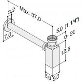 """Pungvandlåse 11/4"""" krom inkl. afløbsrør og roset - firkantet"""