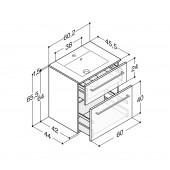 Scanbad Delta med Micca solid surface vask og 2 skuffer - H 65,5 x B 60,2 x D 45,5 cm - Høj model