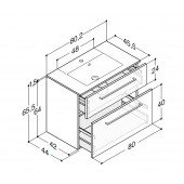 Scanbad Delta med Micca solid surface vask og 2 skuffer - H 65,5 x B 80,2 x D 45,5 cm - Høj model