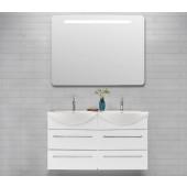 Scanbad Delta med Vivo dobbelt porcelænsvask og 4 skuffer - H 69 x B 120 x D 50 cm - Inkl. spejl med LED lys